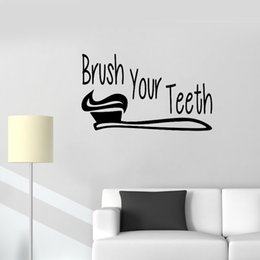 Bathroom Wall Sticker Quotes Australia - Bathroom Wall Quote Sign brush your teeth Wall Stickers Art Vinyl Washroom Decor Mural Waterproof Cute Baby Room Wallpaper