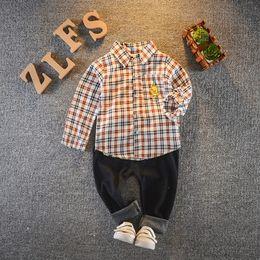 $enCountryForm.capitalKeyWord Australia - 2019 Spring Baby Boy Clothing Toddler Children Clothes Suits Cartoon Duck Plaid Shirt Pants 2Pcs Sets Casual Kids Infant Costume