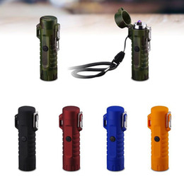 $enCountryForm.capitalKeyWord Australia - Newest Colorful Windproof Waterproof USB ARC Charging Lighter Flashlight illumination Portable Lanyard Innovative Design High Quality DHL