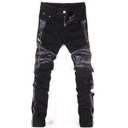 aa6c8c5f897 fashion cool Punk pants Korean New men with leather zippers Black Skinny  tight Plus size 32 33 34 36 Rock trousers