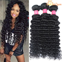 Discount 24 inch curly malaysian hair - 8A Malaysian Deep Wave Curly Hair 3 Bundles Malaysian Human Hair Extensions Dyeable Human Hair Weave New Arrival