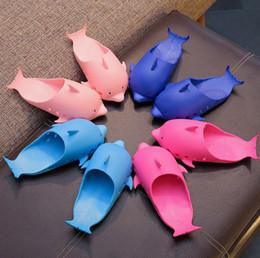 Dolphin Cartoon Child Australia - Children slippers boys cute dolphins modelling sandals girls cartoon slippers 2019 summer kids non-slip breathable beach shoes F5826