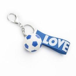 $enCountryForm.capitalKeyWord Australia - Soccer Football Pvc Keychain Bag Car Key Chain Pendant Football Club Keyring Gift 6 Colors Mix 30pcs lot wholesale