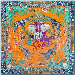silk twill scarves Australia - Big Size Animal Print Scarf Women Square Twill Silk Scarf Elephant Shawls Bandanas Wholesale 130*130CM