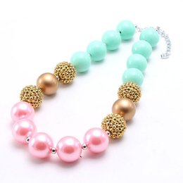 mint green pearls Canada - Mint Green+Gold Color Pearl Girl Kid Chunky Beads Necklace Shiny Pearl Bubblegum Chunky Beads Necklace Jewelry For Children