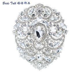 "Discount red flower brooch large - drop brooch Luxury Wedding Pin Brooches 4.9\"" Large Flower Brooch Pin Bridal Jewelry For Women Drop Rhinestone Crys"