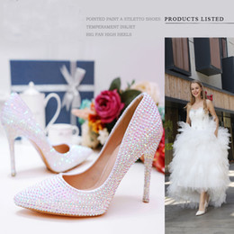 inch heels pumps Australia - 2019 Luxurious White AB Crystal Wedding High Heels Pointed Toe 3 Inches Stiletto Heel Banquet Party Pumps Graduation Prom Shoes