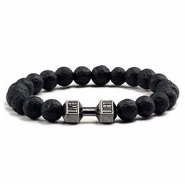 Dumbbells for women online shopping - Black Matte Beads Bracelets for Women Men Natural Black Volcanic Lava Stone Dumbbell Bracelet Fitness Barbell Jewelry Pulseras