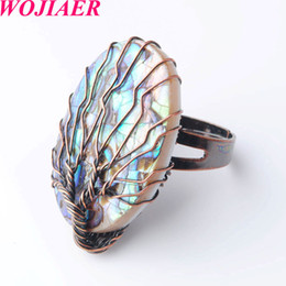 natural life jewelry Australia - WOJIAER Oval Antique Rings for Women Vintage Finger Jewelry Natural Abalone Shell Bead Wire Wrapped Tree of Life Adjustable Ring DX8000
