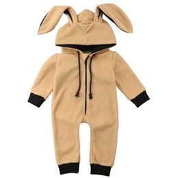 cute baby clothes ears UK - Baby Girls Boys Clothes 0-3T Cute Toddler Baby Soft Hooded One-piece Pajamas Rabbit Ear Hood Zip Up Comfy Nightwear