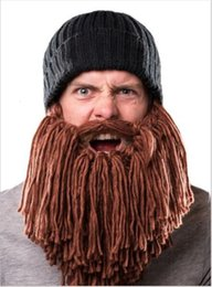 $enCountryForm.capitalKeyWord NZ - 2017 Barbarian Viking Beanie Beard Horn Hat Handmade Knit Winter Warm Cap Men Women Birthday Cool Funny Gag Party Xmas Gifts