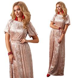 fc275a82a 2019 moda primavera vestido de festa de veludo clube mulheres vestido de  veludo de verão longo rosa verde noite de manga curta vestidos elegantes