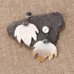 natural stone shell jewelry NZ - 2019 Vintage Shell Earrings Leaves Drop Earring Natural Stone Earrings Maple Dangle Earrings Gems Stone Jewelry