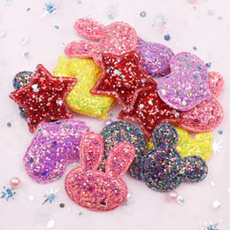 fabric ornaments for hair 2019 - Cheer Bows Glitter Fabric Patches Star Heart Sequin Appliques Padded Patches for Clothes Stickers DIY Hair Clips Ornamen