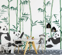 $enCountryForm.capitalKeyWord Australia - Hand-paint Chinese Cute Panda Bamboo 3d Cartoon Murals Wallpaper for Child Baby Room 3d Wall Mural 3d Cartoon Wall paper
