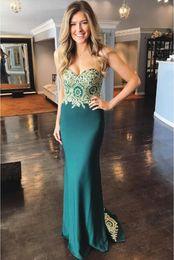 64ea295da7 Sirena verde esmeralda vestidos de baile cariño apliques de oro ajustados vestidos  de noche más el tamaño hermoso con cordones junior graduación vestido