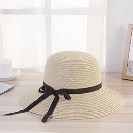girls pink straw sun hats NZ - 2019 Women Summer Hat Girl Beach Elegant Black Streamer Bow Big Wide Brim Sun Hats Panama Natural Style Foldable Straw Hat