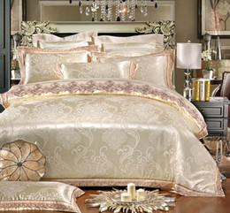 Queen Lace Sheet Set NZ - 4 6Pcs Luxury Bedding set QUEEN KING SIZE bed set Stain Jacquard Cotton Lace Duvet cover Bedsheet Fitted sheet Pillowcases
