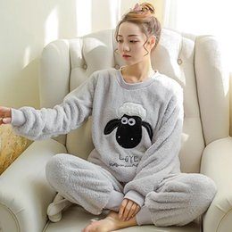 $enCountryForm.capitalKeyWord UK - Newest Winter Thickened Pajamas Women Cute Cartoon Coral Fleece Pyjamas Home Furnishing Suit Coral Velvet Home Wear Leisure Wear J190712