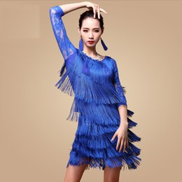 Wholesale belly dancing costumes blue resale online - Fantasia Latin Dance Dresses for Ladies Blue Red Black Tassel Skirt Costume Women Ballroom Professional Samba Costumes N1035