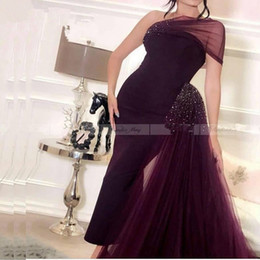 purple feather skirt Australia - Dubai Purple Mermaid Evening Dress 2020 Arabic One Shoulder Crystal Beaded Prom Dresses Detachable Skirt Women Formal Party Gown