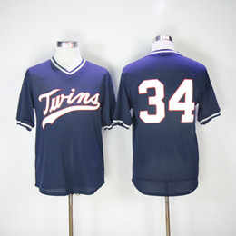 Wholesale Mitchell And Ness Twins Kirby Puckett Jersey Navy Blue Throwback Stitched Baseball Jerseys