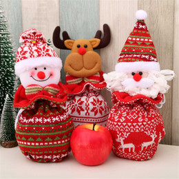 knitted gift bags Canada - Christmas Eve Apple Gift Bag Xmas Tree Decoration Christmas Drawstring Candy Knitted Gift Bag Snowman Santa Claus Elk Bear