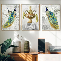 $enCountryForm.capitalKeyWord Australia - Noble Peacock Emerald Flower Vase Canvas Paintings Vintage Wall Kraft Posters Coated Wall Stickers Home Decor Family Gift