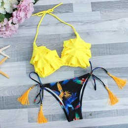 yellow swimsuits women NZ - Women sexy Floral Print Bikini Set Swimming Two Piece Swimsuits Swimwear Beach Suit yellow Hanging neck bow-knot badpak dames