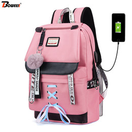 girls new college bags 2019 - Pink USB Backpacks Women School Backpack for Teenage Girls School Bag Large Canvas Middle High College Student Bagpack 2