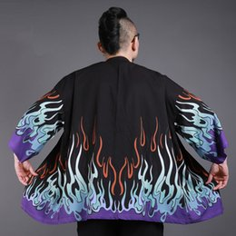 Fashion kimono online shopping - New Japanese Kimono Cardigan Men Wave Print Long Street Style Kimono Cardigan Men Black Kimono Cardigan Male Coat