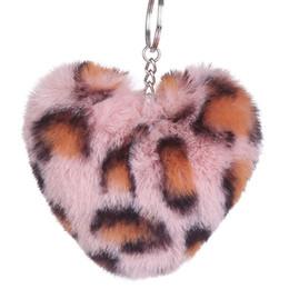 $enCountryForm.capitalKeyWord UK - Fluffy Rabbit Fur Ball Heart Shape Key Chain Leopard Pompom Artificial Keychain Women Car Bag Key Ring