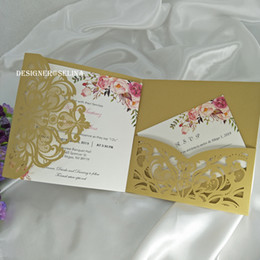 Wholesale Gold Floral Trifold Pocket Wedding Invitations with RSVP Card Laser Cut Invitation Cards for Sweet th Bridal Shower Quince invite