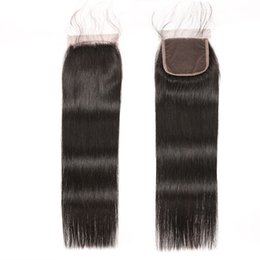China Straight Human Hair Lace Closure 5x5 4x4 Lace Closure With Pre Plucked Baby Hair Brazilian Straight Hair Kim k Lace Closure supplier human hair 5x5 lace closure suppliers