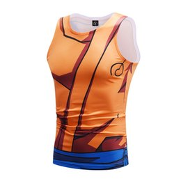men sleeveless tees UK - WduwFm Men 3D Anime Fitness Compress Shirts Dragon Ball Z Vest Print Son Gohu Sleeveless Cosplay Tees Tank Top #158163