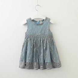 Pretty girls clothes online shopping - Retail Girls Lace Princess Dress Kids Summer Pretty Vest Dresses boutique clothes baby clothing light blue Beige Children Clothes