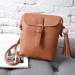 Wholesale Leather Fringe Bags Australia - Tassel Bucket Promotional Ladies Fringe Tassel PU Leather Bucket Small Messenger Bag Women Fashion Shoulder Crossbody Bags