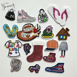 canvas shoe bags wholesale NZ - Fine Cartoon Canvas Shoes Cap Bag Patch Anime Embroidered Iron On Patches Sticker For Clothes Sewing On Jeans Appliques Badge