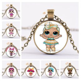 $enCountryForm.capitalKeyWord Australia - Surprise Girls Cartoon Glass Necklace 25mm Time Gem Jewelry Necklaces Kids Characters Sweater Chains Children Charms Pendant Decor A41005
