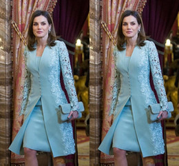 $enCountryForm.capitalKeyWord NZ - Elegant Outdoor Mother Of Bride Dresses Suits Short Two Piece Blue Long Sleeve Groom Mother Dress For Wedding Lace Arabic Evening Dress