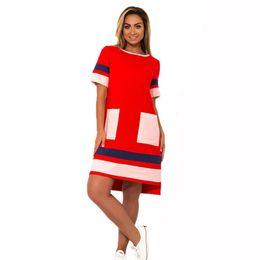 $enCountryForm.capitalKeyWord Australia - 2019 New Arrival Women Dress Oversized Casual Straight Patchwork Vestidos 6xl Short Sleeve Big Size 5xl Work Female Gift Dresses GMX190708