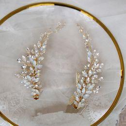 $enCountryForm.capitalKeyWord Australia - 2 Pcs Wedding Prom Bridal Bride Crystal Rhinestone Gold Hair Accessories Tiaras Headpiece Hair Clip Pins Jewelrys
