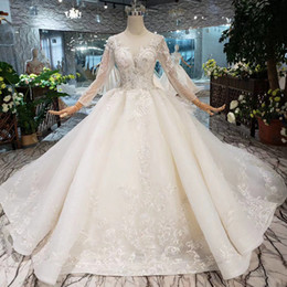 Cathedral Style Wedding Dresses Australia - 2019 Newest Lebanon Style Wedding Dresses Luxury Detail Applique Lace Wedding Gowns Long Illusion Sleeve Tulle V-Neck Backless Bridal Gowns