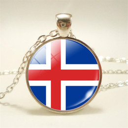 $enCountryForm.capitalKeyWord Australia - Hot Fashion Iceland National Flag World Time Gem Glass Cabochon Necklaces Long Link Sweater Chain Cuff Choker Pendants Jewelry For Women Men