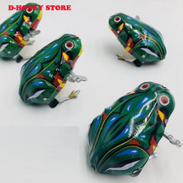 Vintage Toys For Wholesale Australia - NEW Vintage Metal Wind-up Jumping for Frog coak Model Clockwork Tin Toys Collectible Classic Education Toys Gift For Children