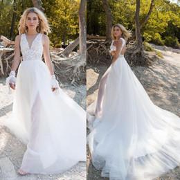 d70a3884105da 2019 Bohemian Wedding Dresses Jewel Illusion Sleeveless Lace Appliques  Beach Bridal Gowns Sweep Train A Line Wedding Dress Robe De Mariee