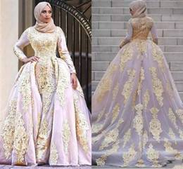colorful muslim gold wedding dresses NZ - Dubai Arabic Vestidos With Detachable Train Gold Lace Appliqued Muslim Mermaid Wedding Dresses Overskirts Long Sleeves Bridal Gown AL3035