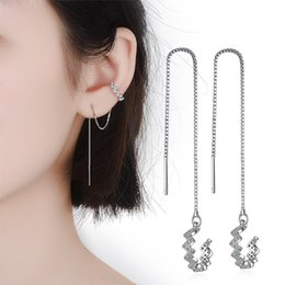 ear cuffs chains UK - Girl's Cuff Earring Clips CZ Crystal High Quality 925 Silver Earcuff With Chain Tassel Elegant Ear Jewelry