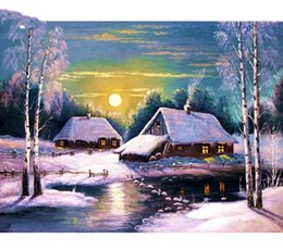 $enCountryForm.capitalKeyWord Australia - Scenery Series Diamond Embroidery Winter Snow Village FullRound drill Resin Drill Sewing Rhinestone Diamond Canvas Painting