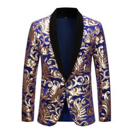 Men Suits Flowers Australia - Men Shawl Lapel Blazer Designs Black Velvet Gold Flowers Sequins Suit Jacket DJ Club Stage Singer Clothes